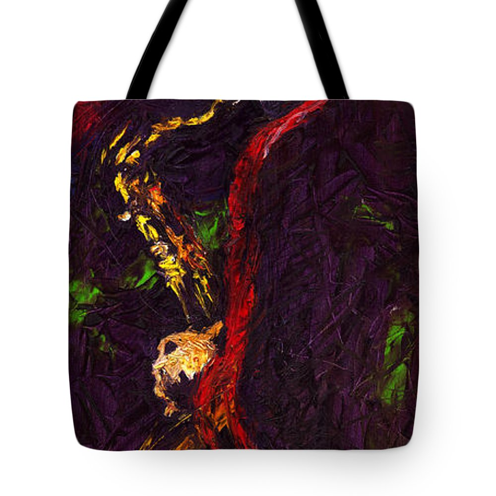 Jazz Tote Bag featuring the painting Jazz Red Saxophonist by Yuriy Shevchuk