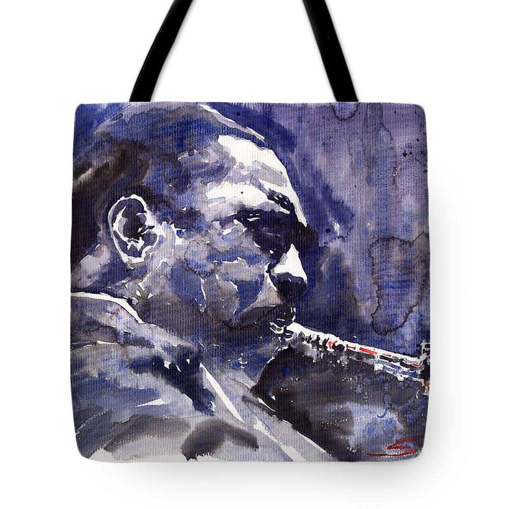 Jazz Tote Bag featuring the painting Jazz Saxophonist John Coltrane 01 by Yuriy Shevchuk