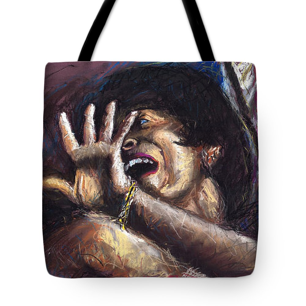 Jazz Tote Bag featuring the painting Jazz Song 1 by Yuriy Shevchuk