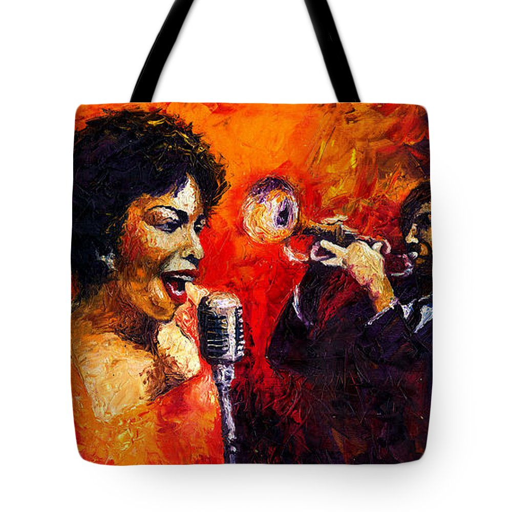 Jazz.song.trumpeter Tote Bag featuring the painting Jazz Song by Yuriy Shevchuk