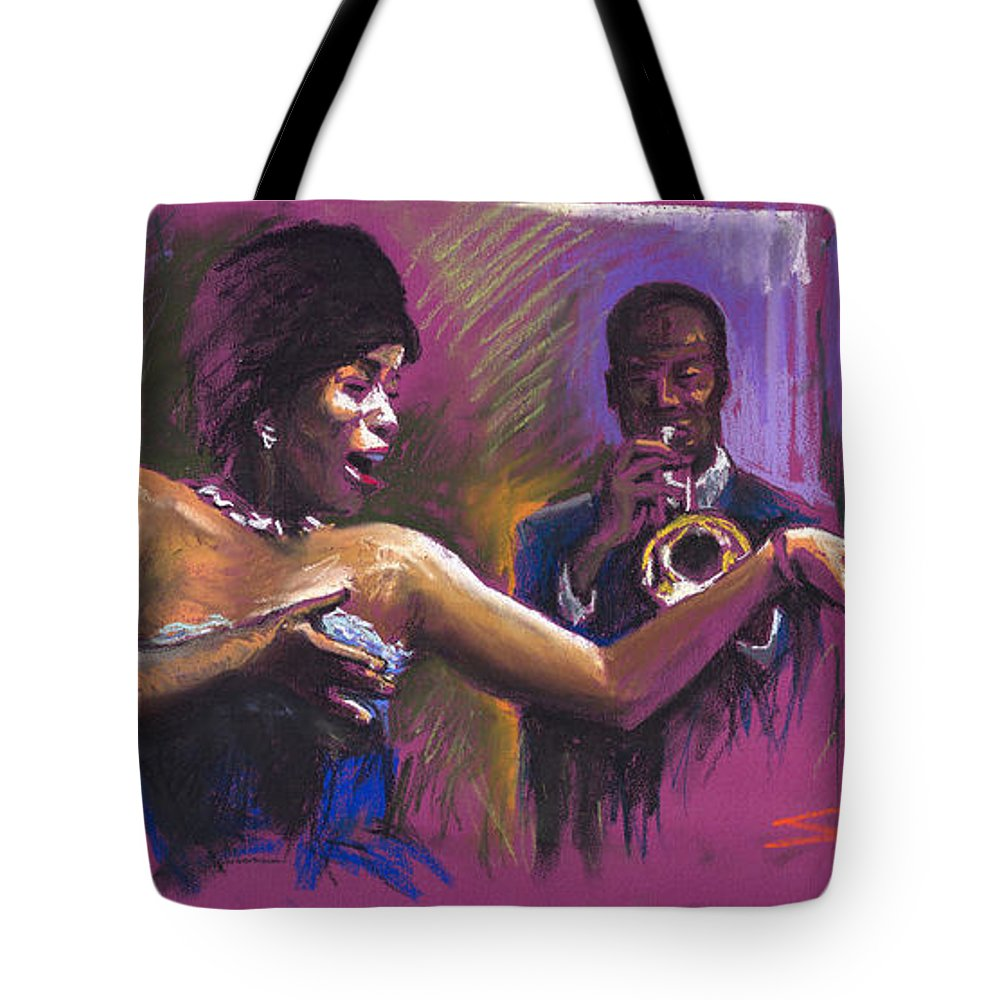 Jazz Tote Bag featuring the painting Jazz Song.2. by Yuriy Shevchuk