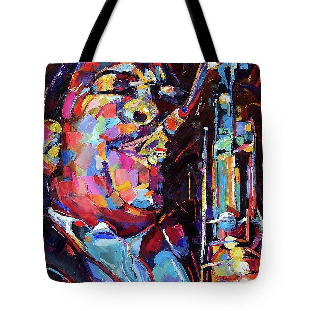 John Coltrane Tote Bag featuring the painting Jazz Trane by Debra Hurd