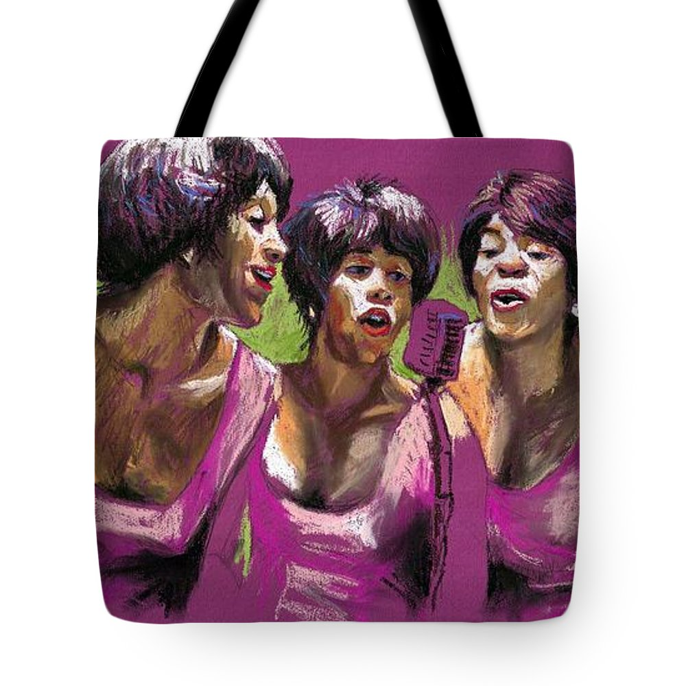 Jazz Tote Bag featuring the painting Jazz Trio by Yuriy Shevchuk