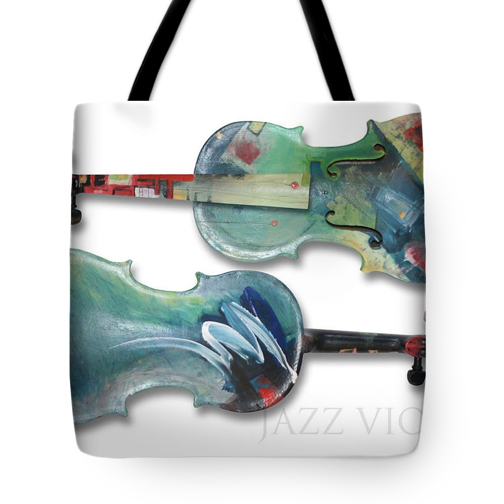 Violin Tote Bag featuring the painting Jazz Violin - Poster by Tim Nyberg