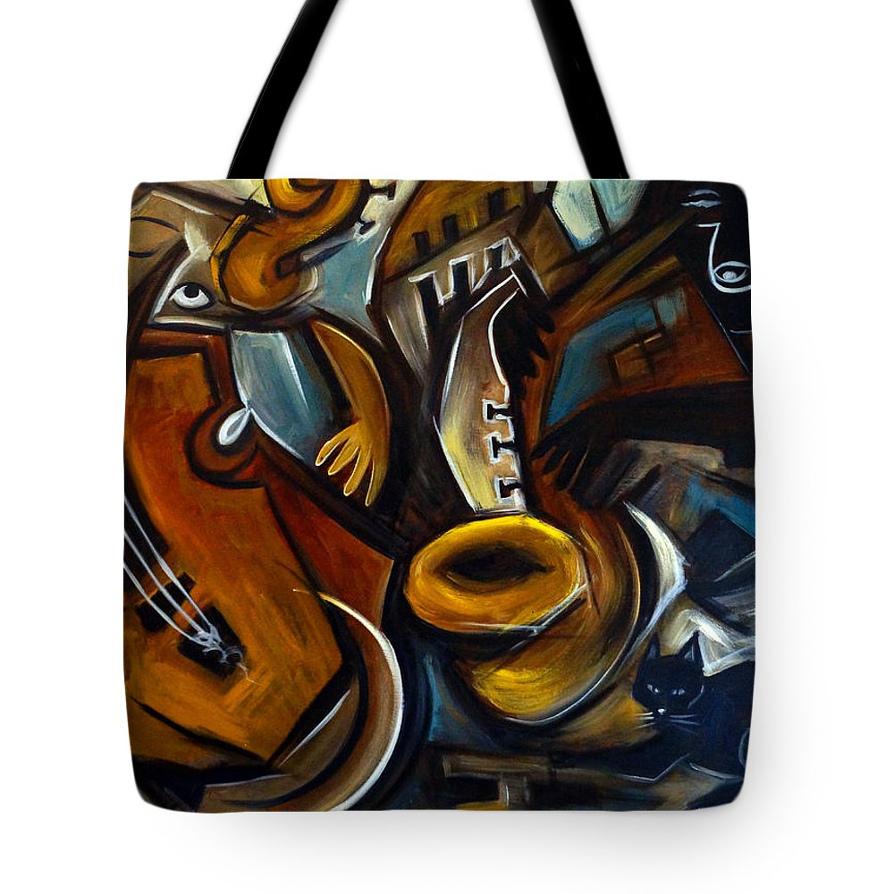 Jazz Tote Bag featuring the painting Black Cat Jazzz by Valerie Vescovi