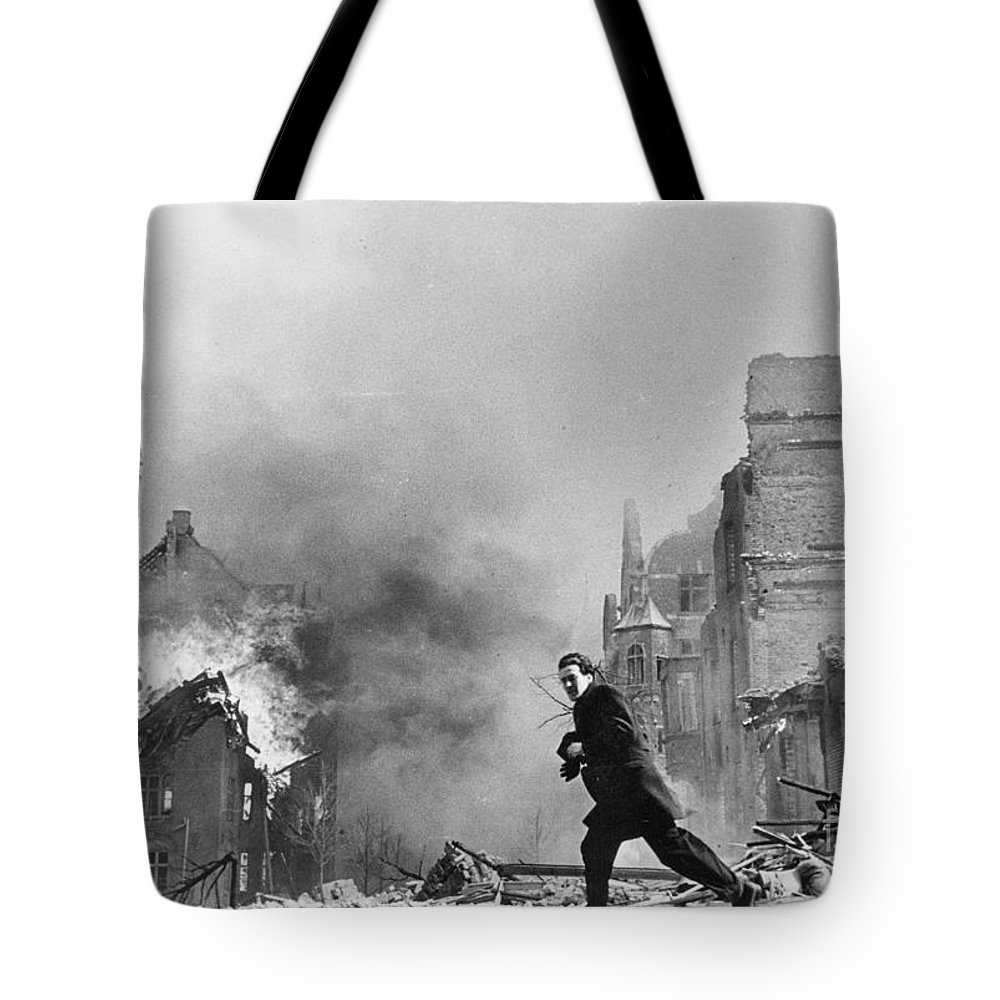 Wwii Mistakes Tote Bag featuring the painting Jeanne Arc School On Fire by MotionAge Designs