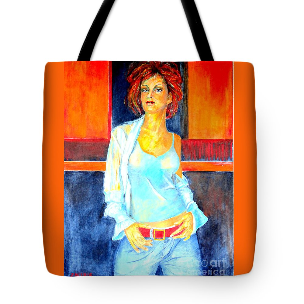 Oilpainting Tote Bag featuring the painting Jeans by Dagmar Helbig