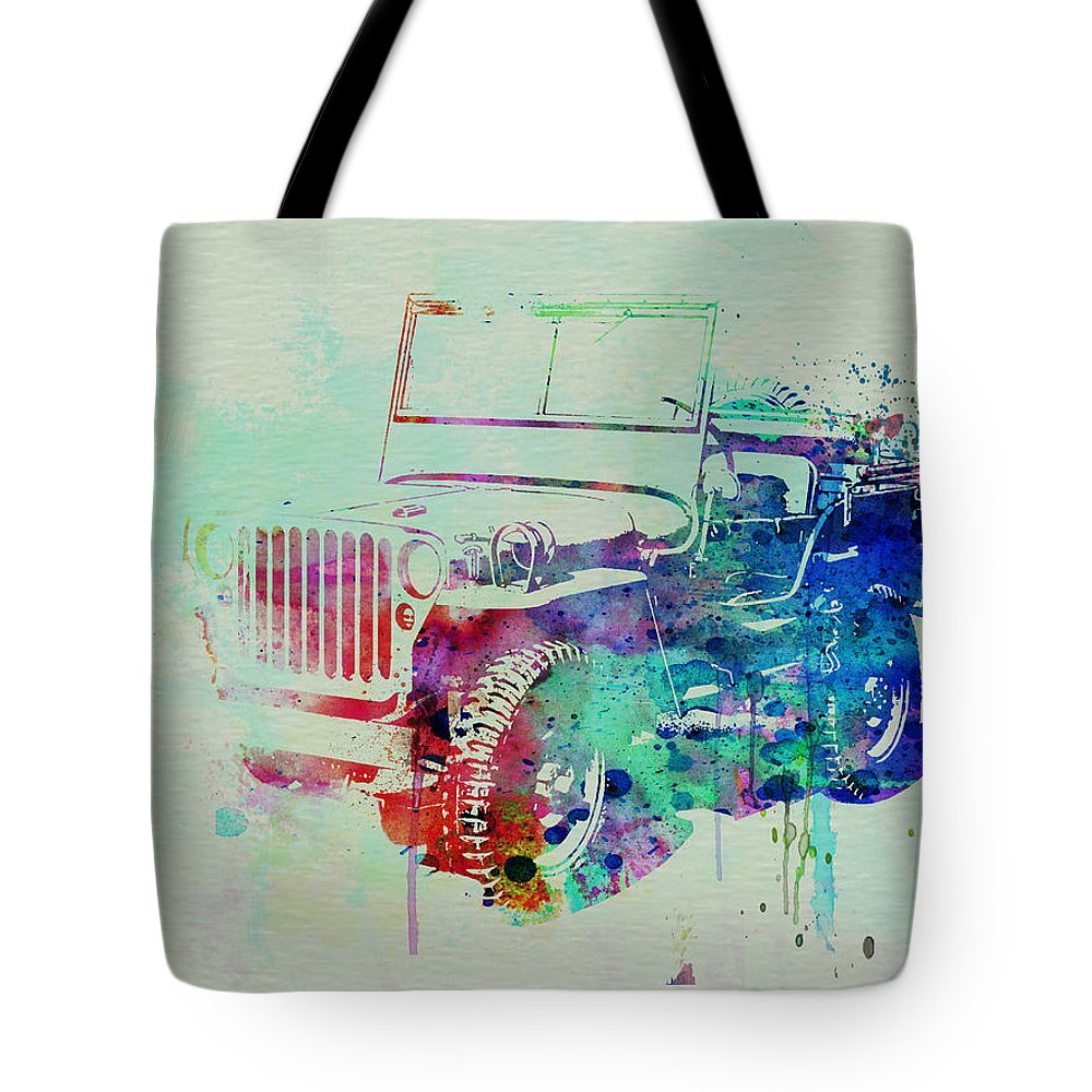 Willis Tote Bag featuring the painting Jeep Willis by Naxart Studio