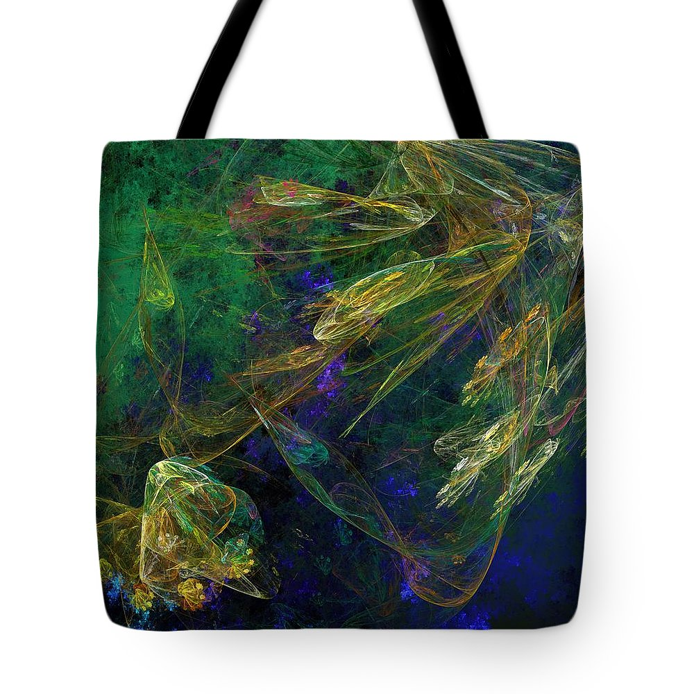Fantasy Tote Bag featuring the digital art Jelly Fish Diving The Reef Series 1 by David Lane