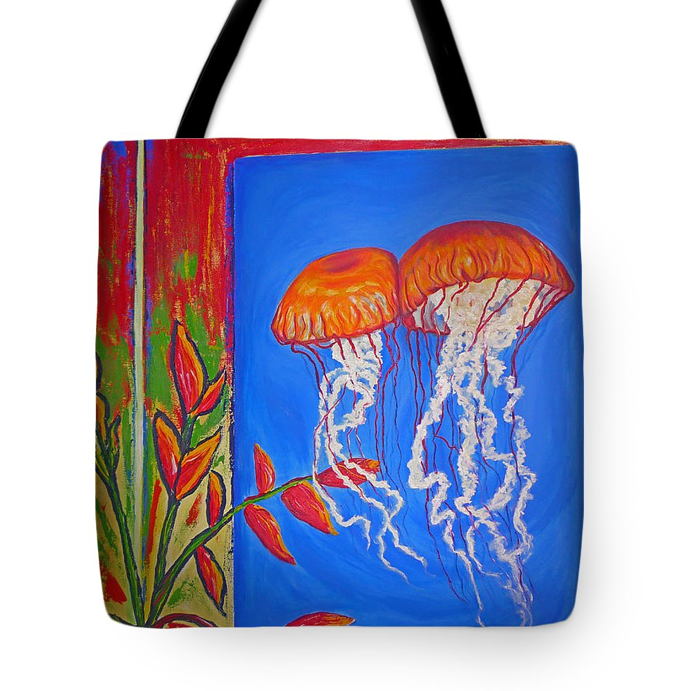 Jellyfish Tote Bag featuring the painting Jellyfish With Flowers by Ericka Herazo
