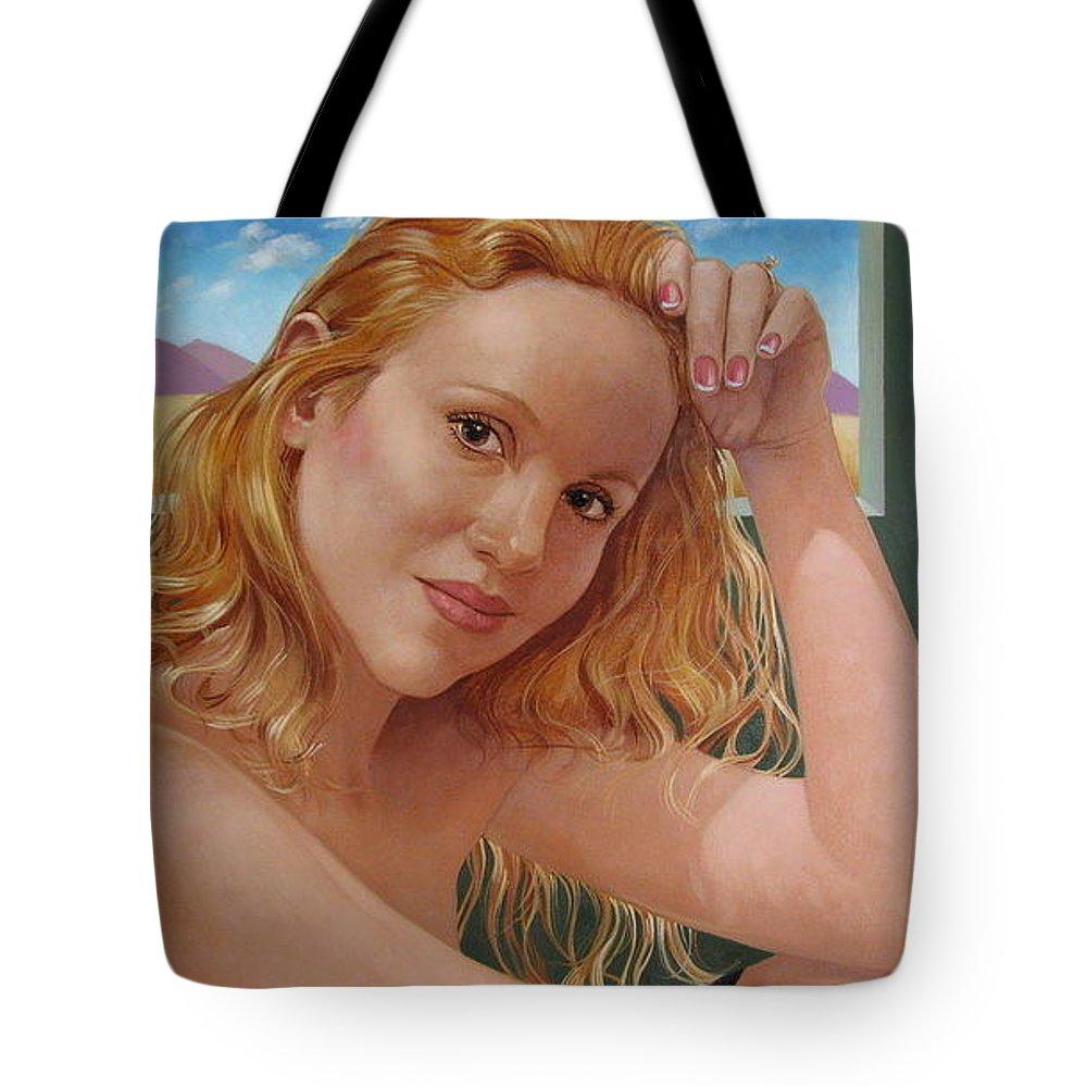 Portrait Tote Bag featuring the painting Jenn Cornelius by Jerrold Carton