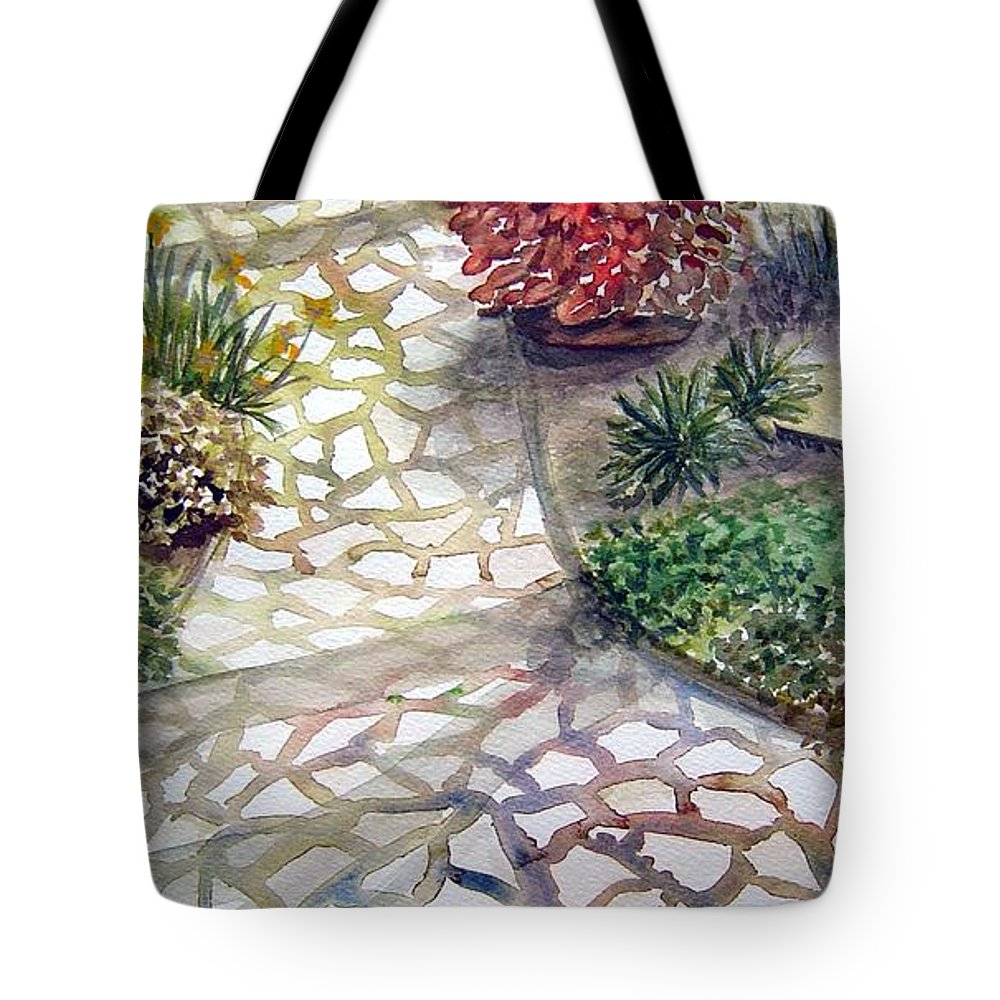 Garden Path Plants Tote Bag featuring the painting Jennifers Garden by Joanne Smoley