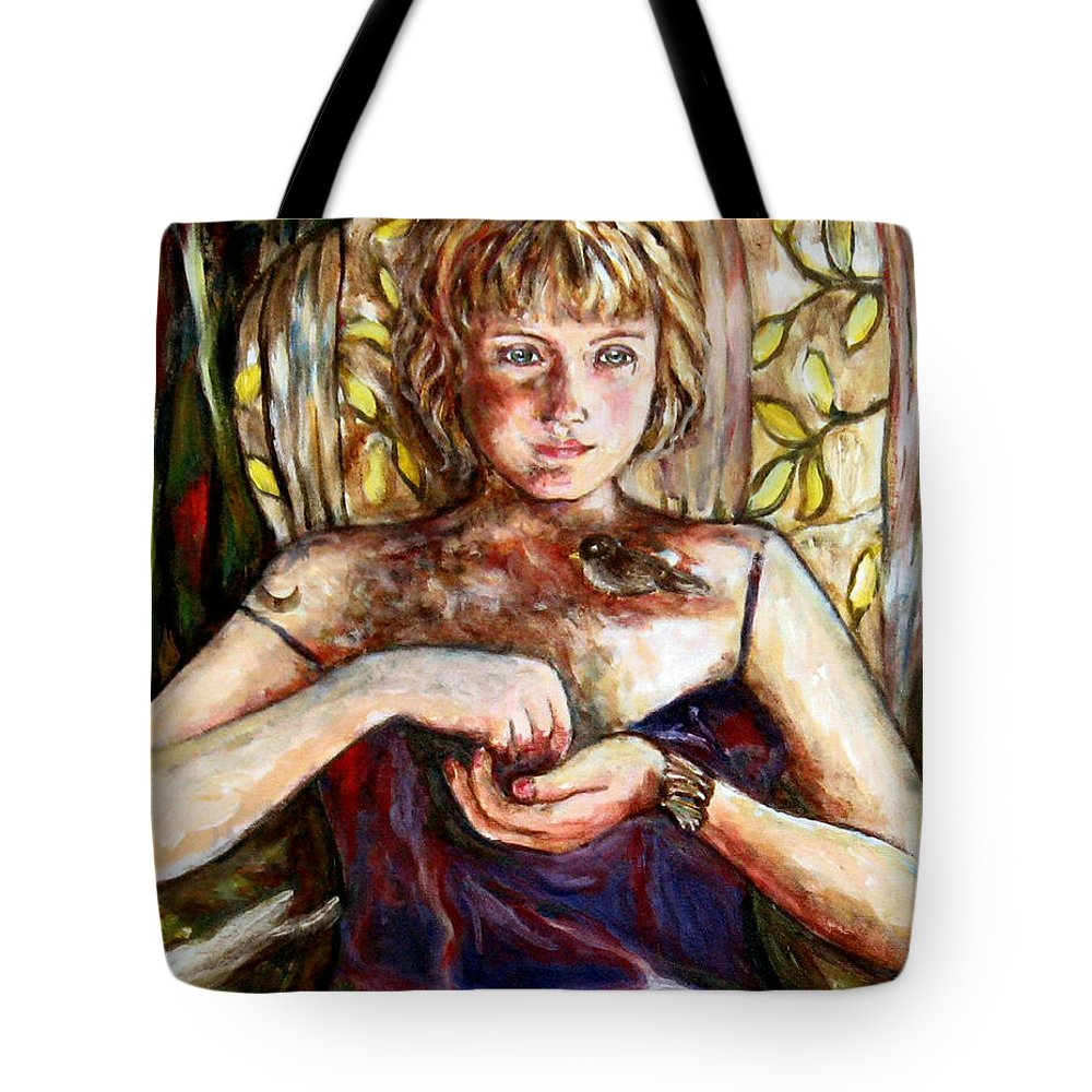 Morning Light Tote Bag featuring the painting Girl And Bird Painting by Frances Gillotti