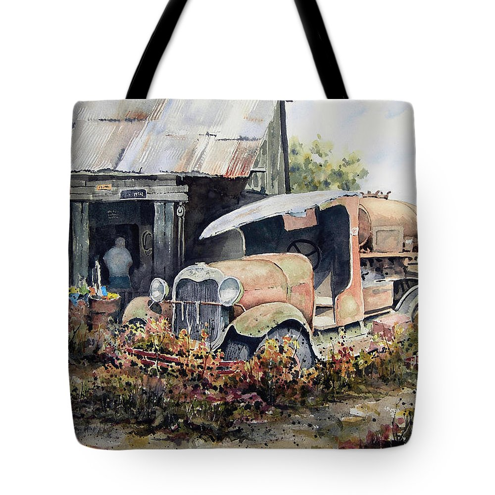 Truck Tote Bag featuring the painting Jeromes Tank Truck by Sam Sidders