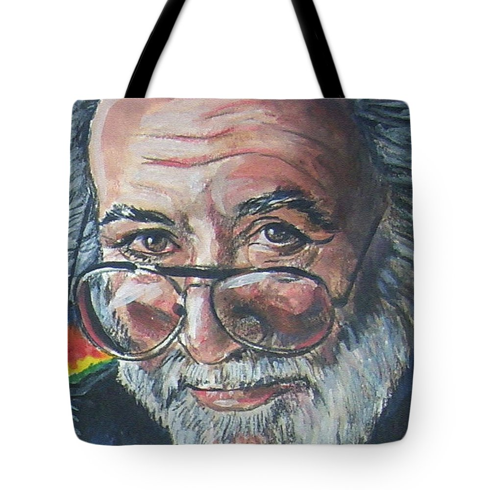 Jerry Garcia Tote Bag featuring the painting Jerry Garcia by Bryan Bustard