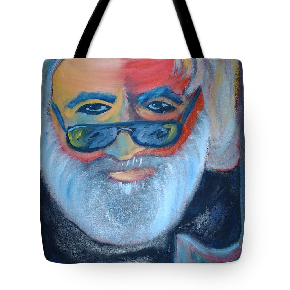 Jerry Garcia Tote Bag featuring the painting Jerry by Michael Mooney