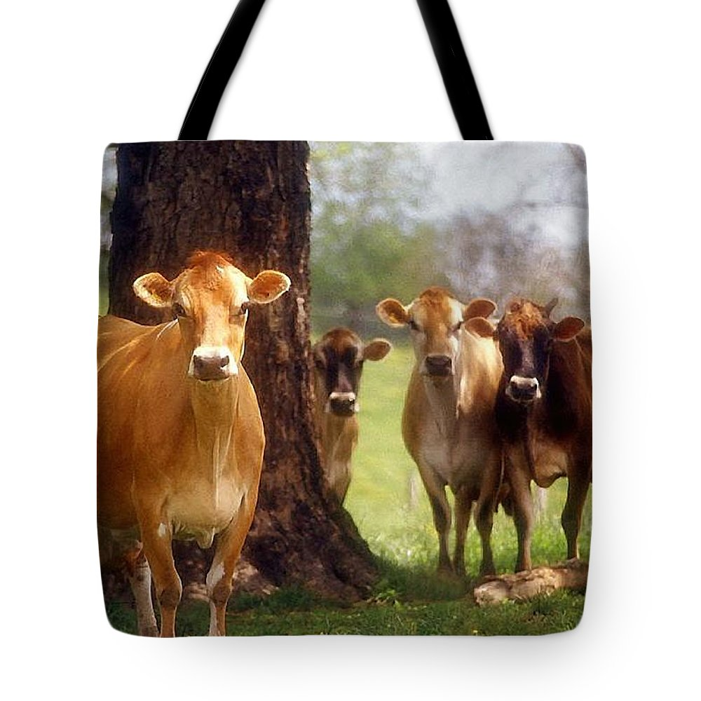 Animals Tote Bag featuring the photograph Jersey Lookers by Jan Amiss Photography