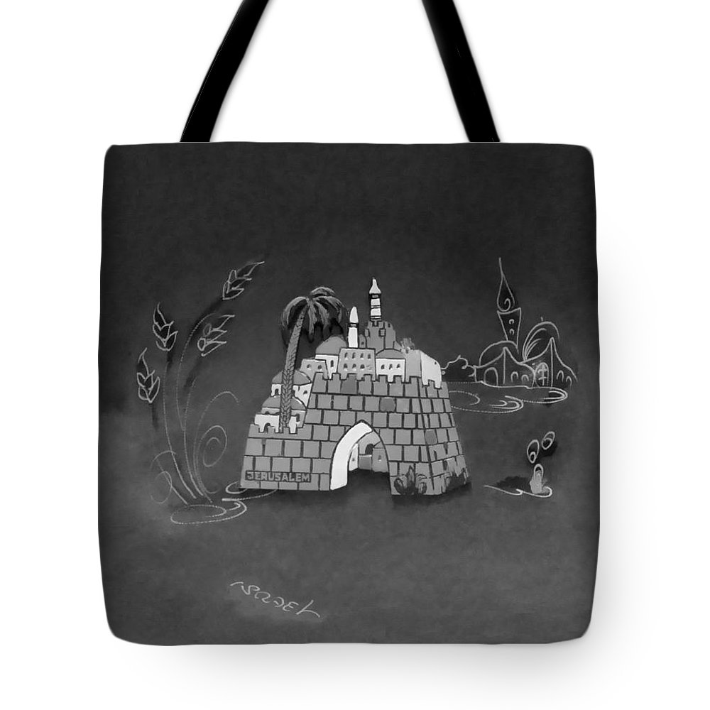 Jerusalem Tote Bag featuring the photograph Jerusalem Israel In Monochrome by Rob Hans