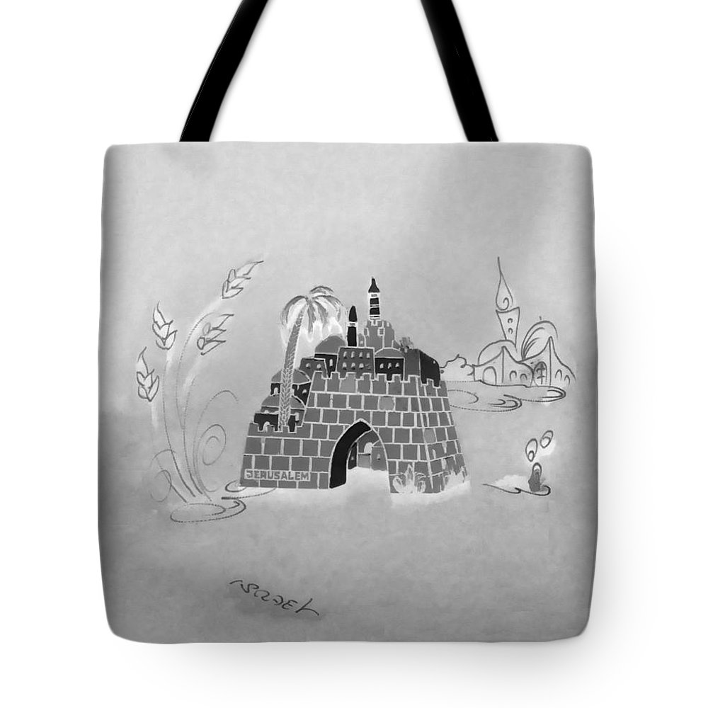 Jerusalem Tote Bag featuring the photograph Jerusalem Israel In Negative by Rob Hans