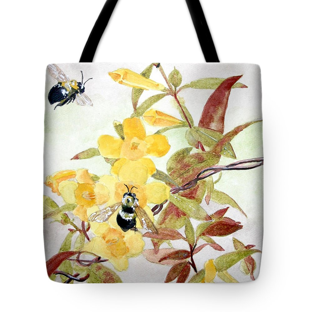 Jasmine Tote Bag featuring the painting Jessamine Bee Mine by Jean Blackmer