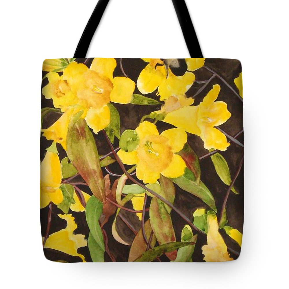 Flowers Tote Bag featuring the painting Jessamine Jungle by Jean Blackmer