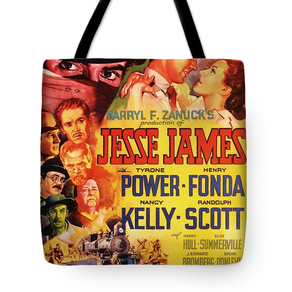 Movie Tote Bag featuring the mixed media Jesse James 1939 by Mountain Dreams