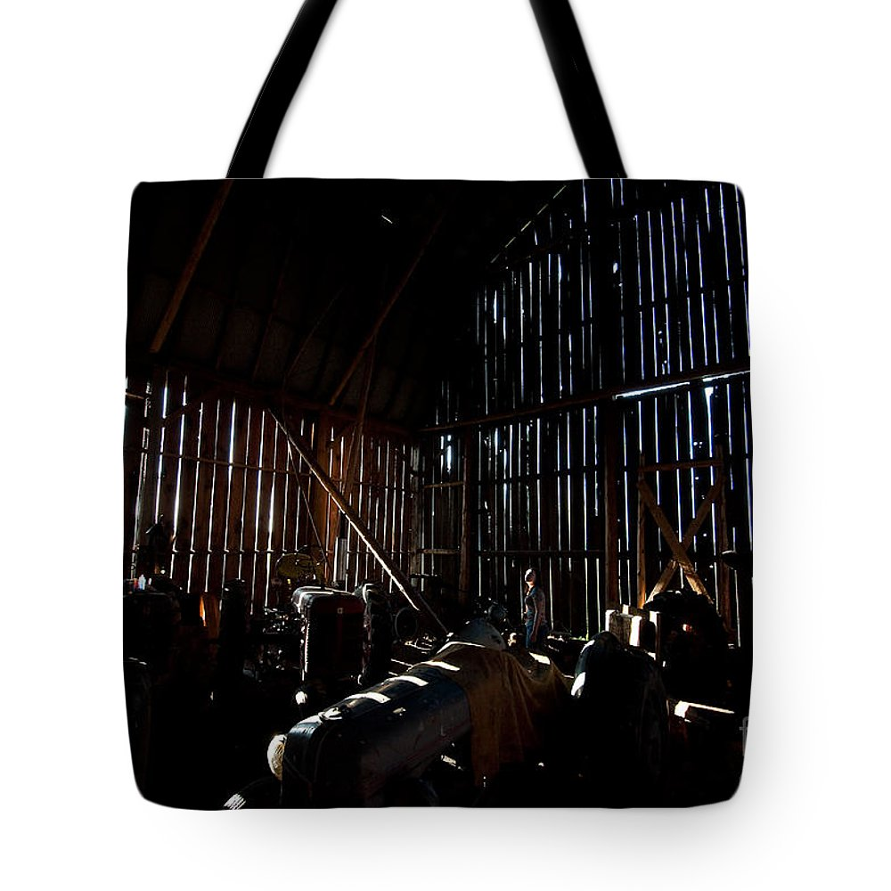Barn Tote Bag featuring the photograph Jesse's In The Barn by Steven Dunn