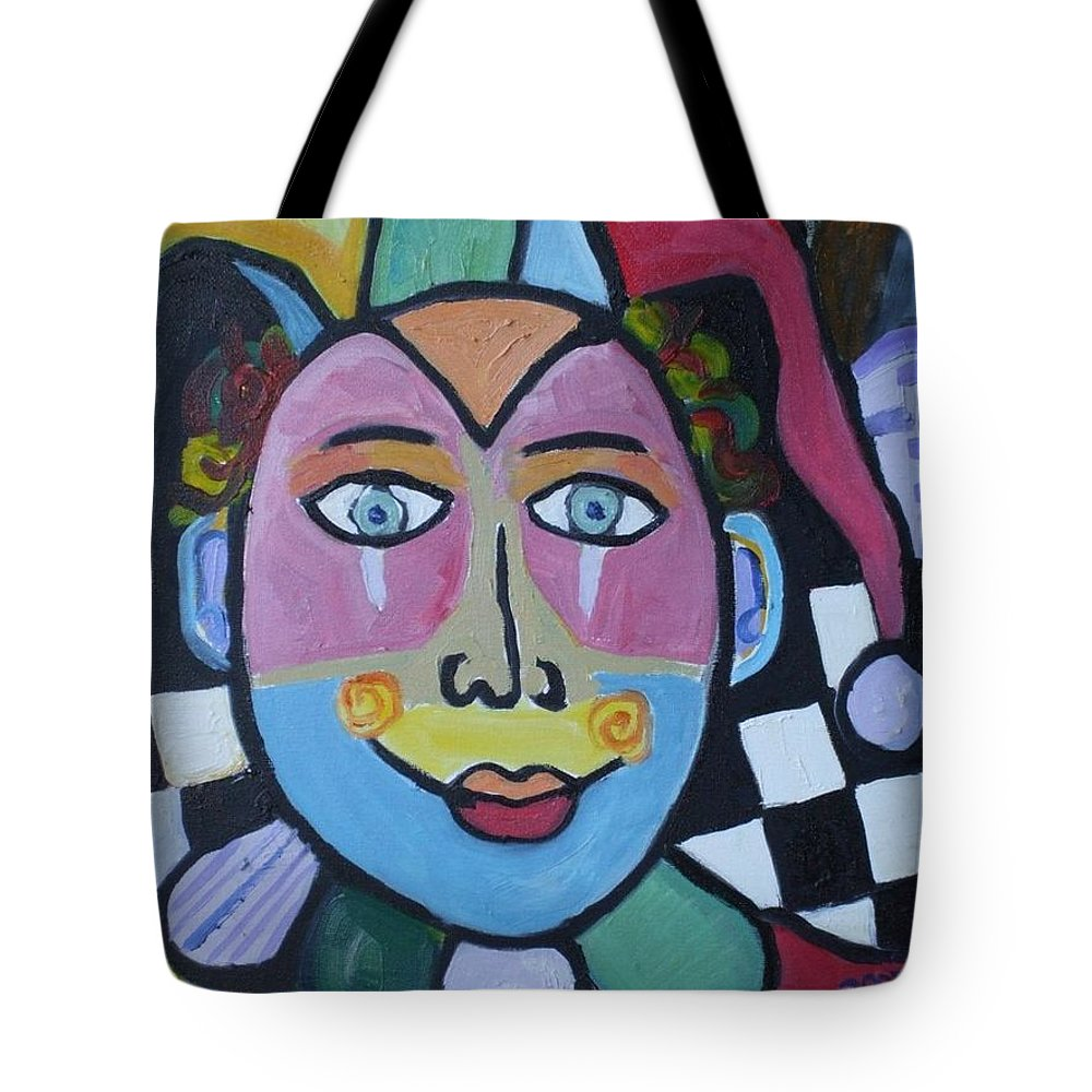 Clown Tote Bag featuring the painting Jester by H Nuurah Hakima