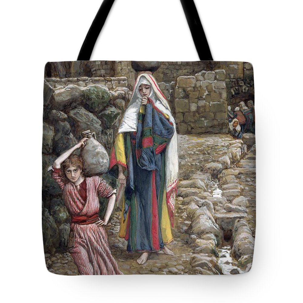 Tote Bag featuring the painting Jesus And His Mother At The Fountain by Tissot