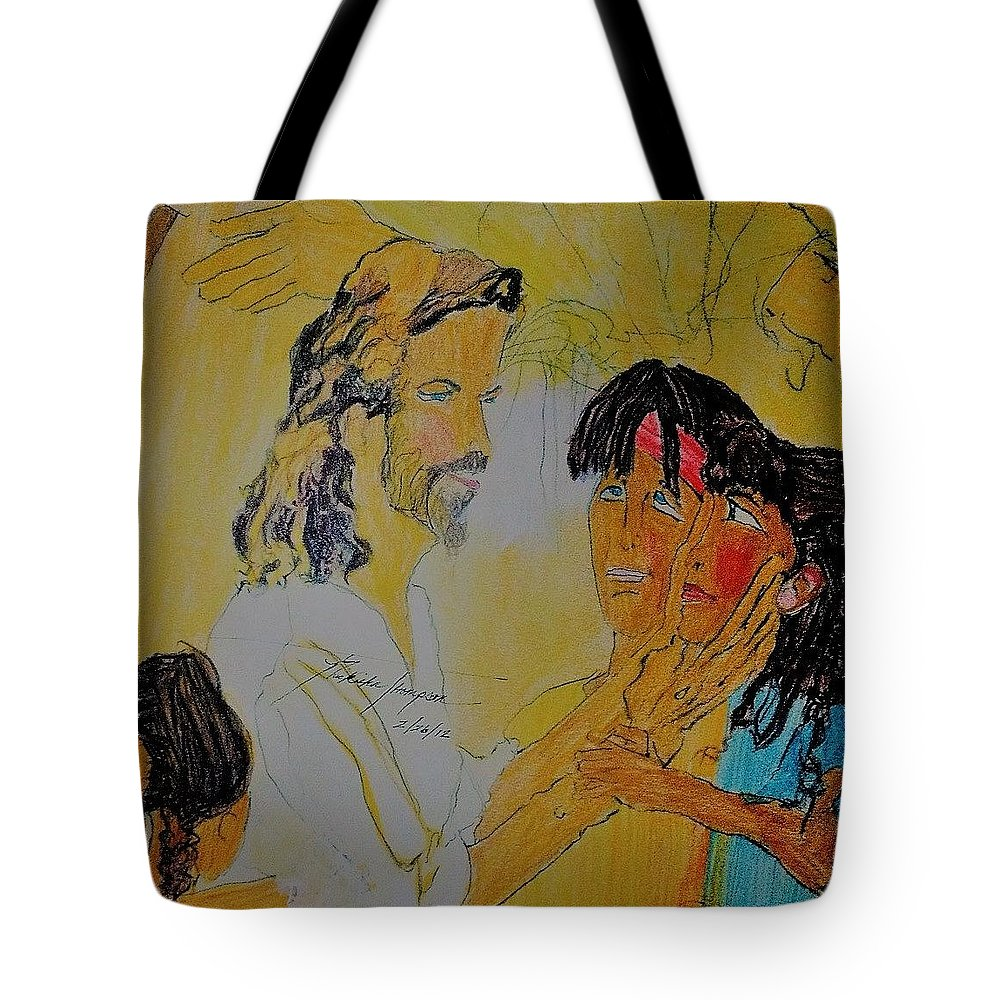 Children Tote Bag featuring the drawing Jesus And The Children by Love Art Wonders By God