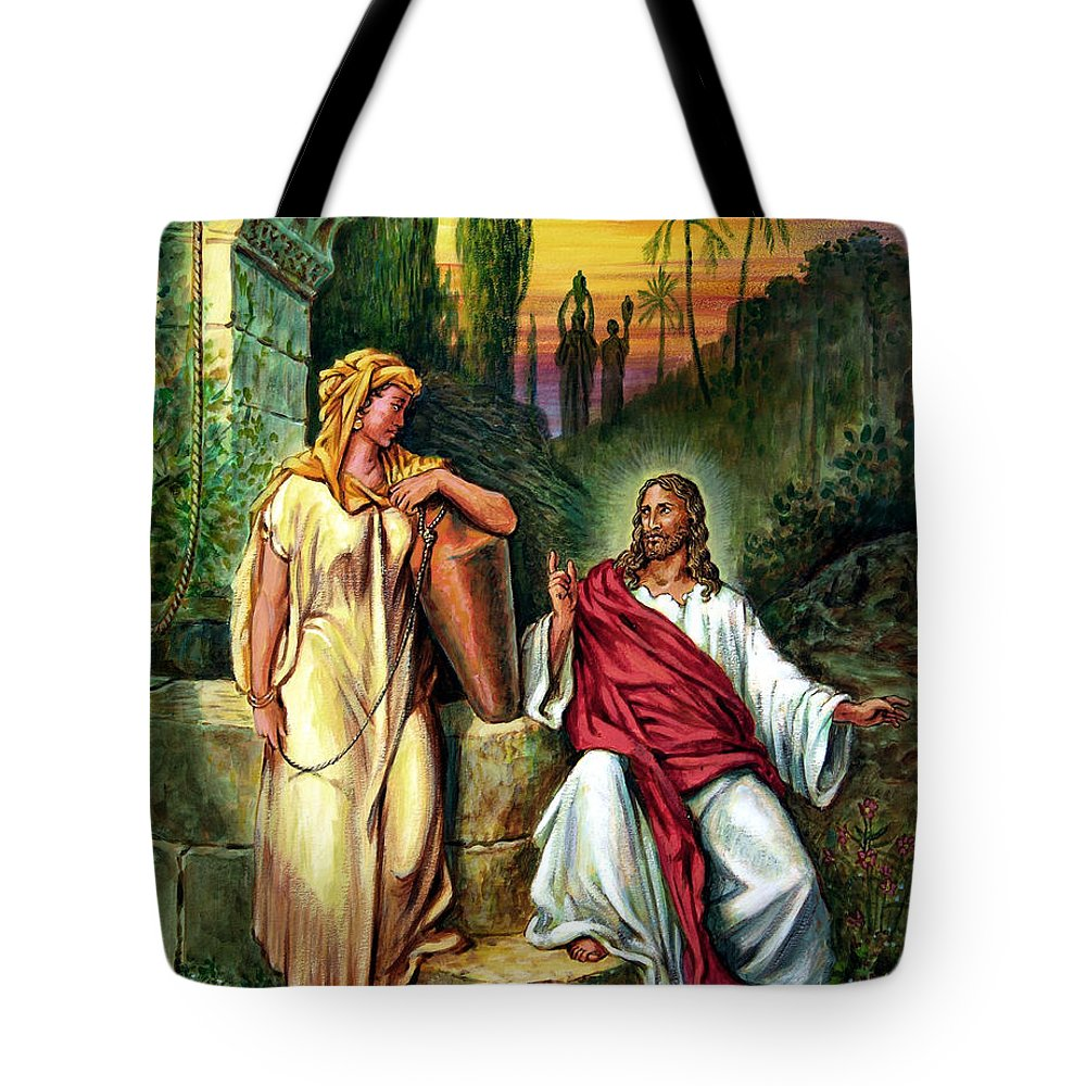 Jesus Tote Bag featuring the painting Jesus And The Woman At The Well by John Lautermilch