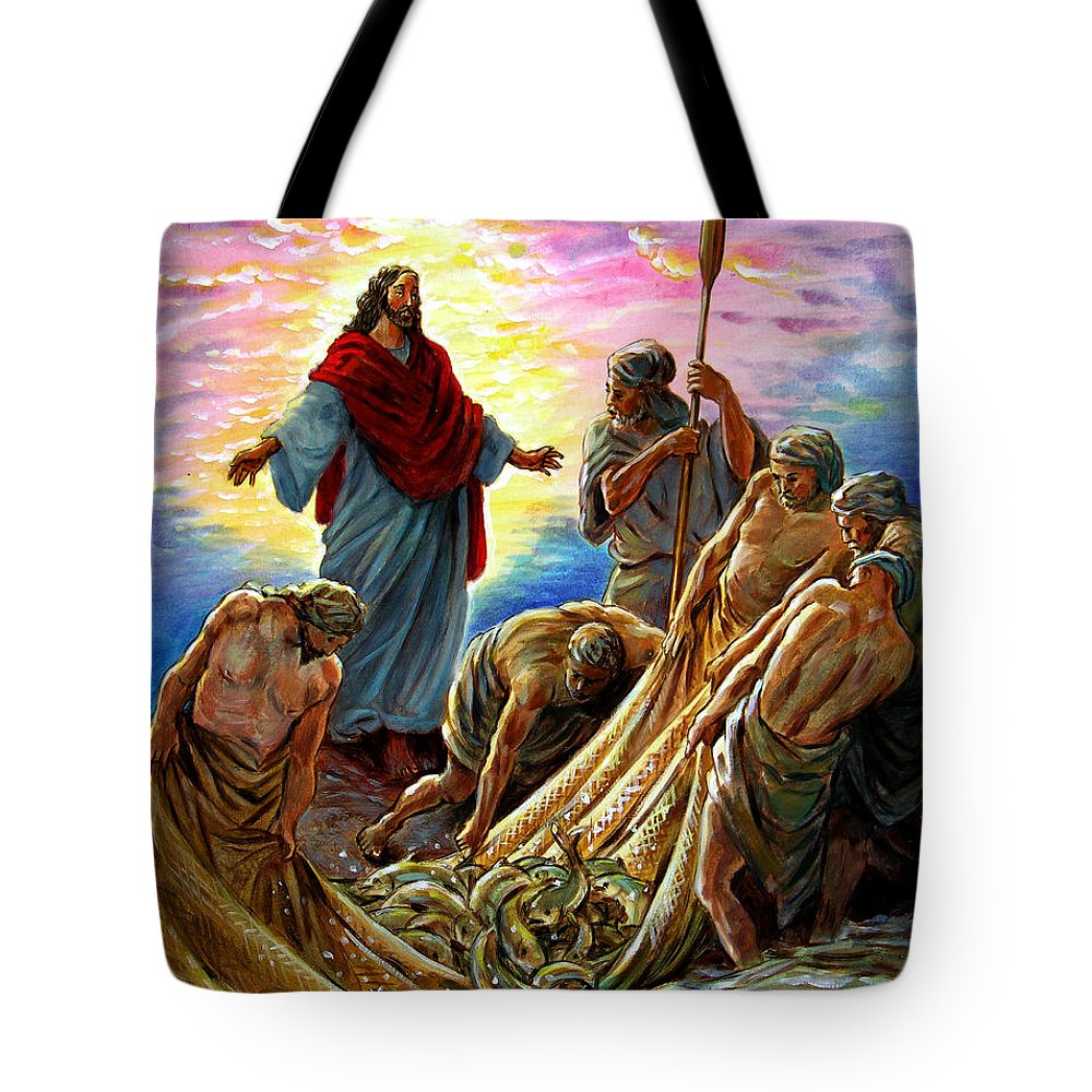 Jesus Tote Bag featuring the painting Jesus Appears to the Fishermen by John Lautermilch