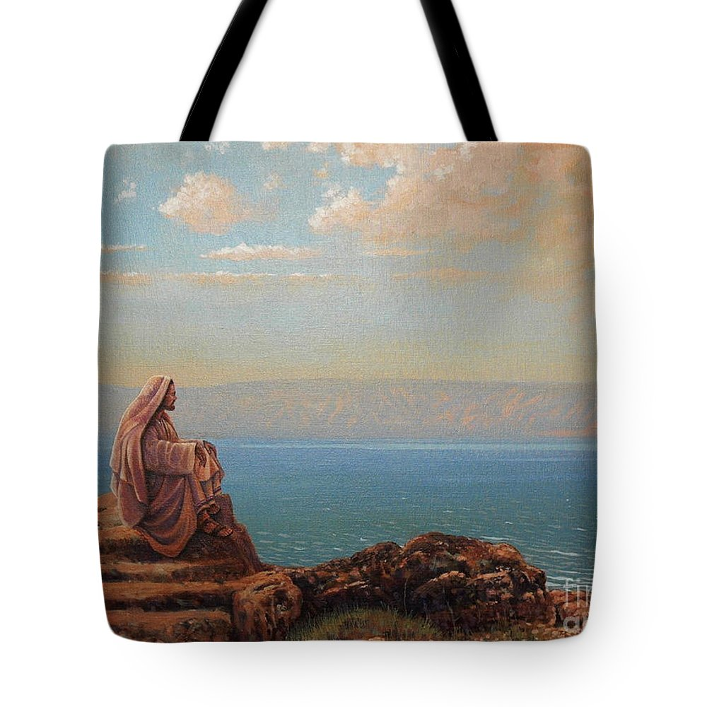Jesus Tote Bag featuring the painting Jesus By The Sea by Michael Nowak