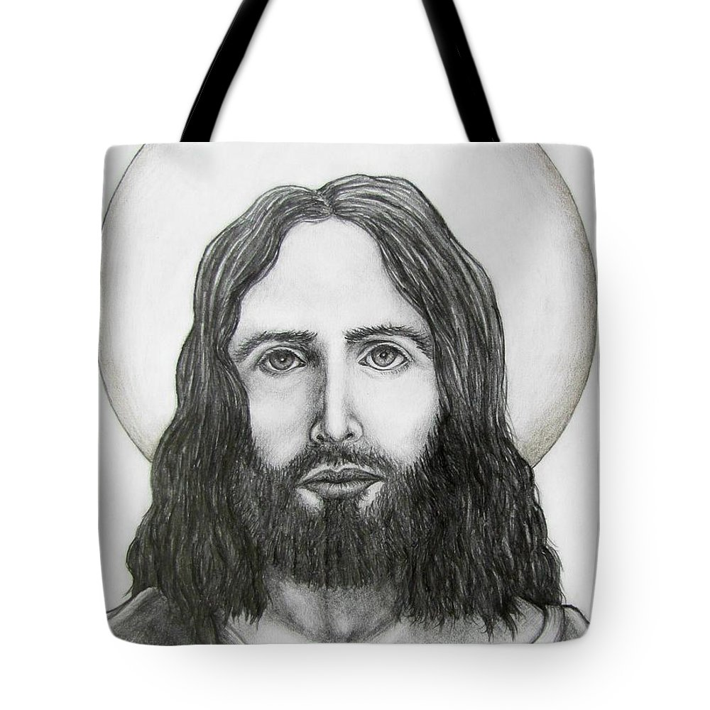 Michael Tote Bag featuring the drawing Jesus Christ by Michael TMAD Finney