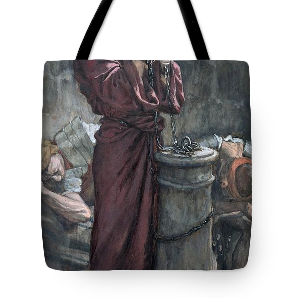Jesus Tote Bag featuring the painting Jesus In Prison by Tissot