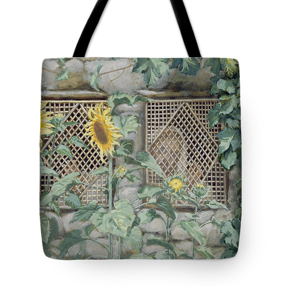 Jesus Looking Through A Lattice With Sunflowers Tote Bag featuring the painting Jesus Looking Through A Lattice With Sunflowers by Tissot