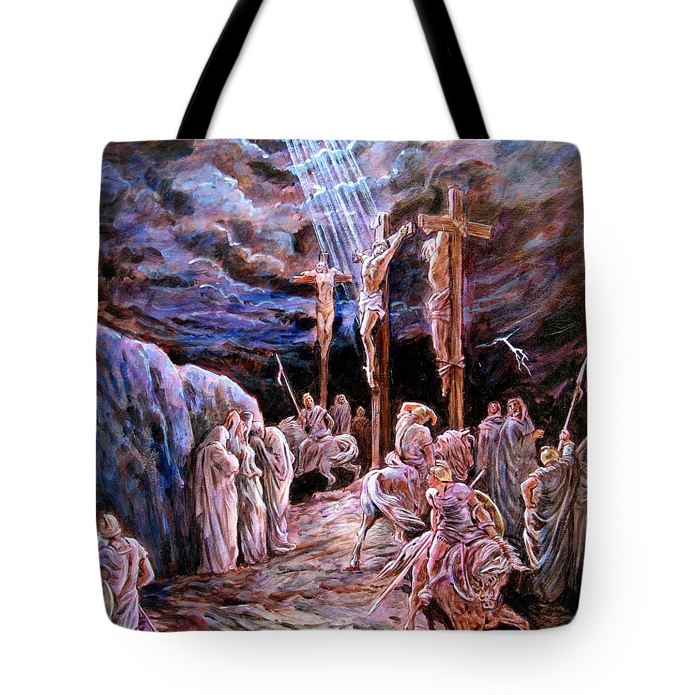 Jesus Tote Bag featuring the painting Jesus On The Cross by John Lautermilch