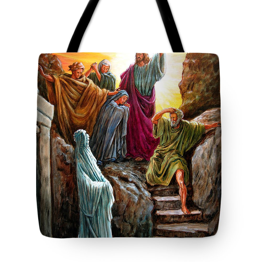Bible Scene Tote Bag featuring the painting Jesus Raises Lazarus by John Lautermilch
