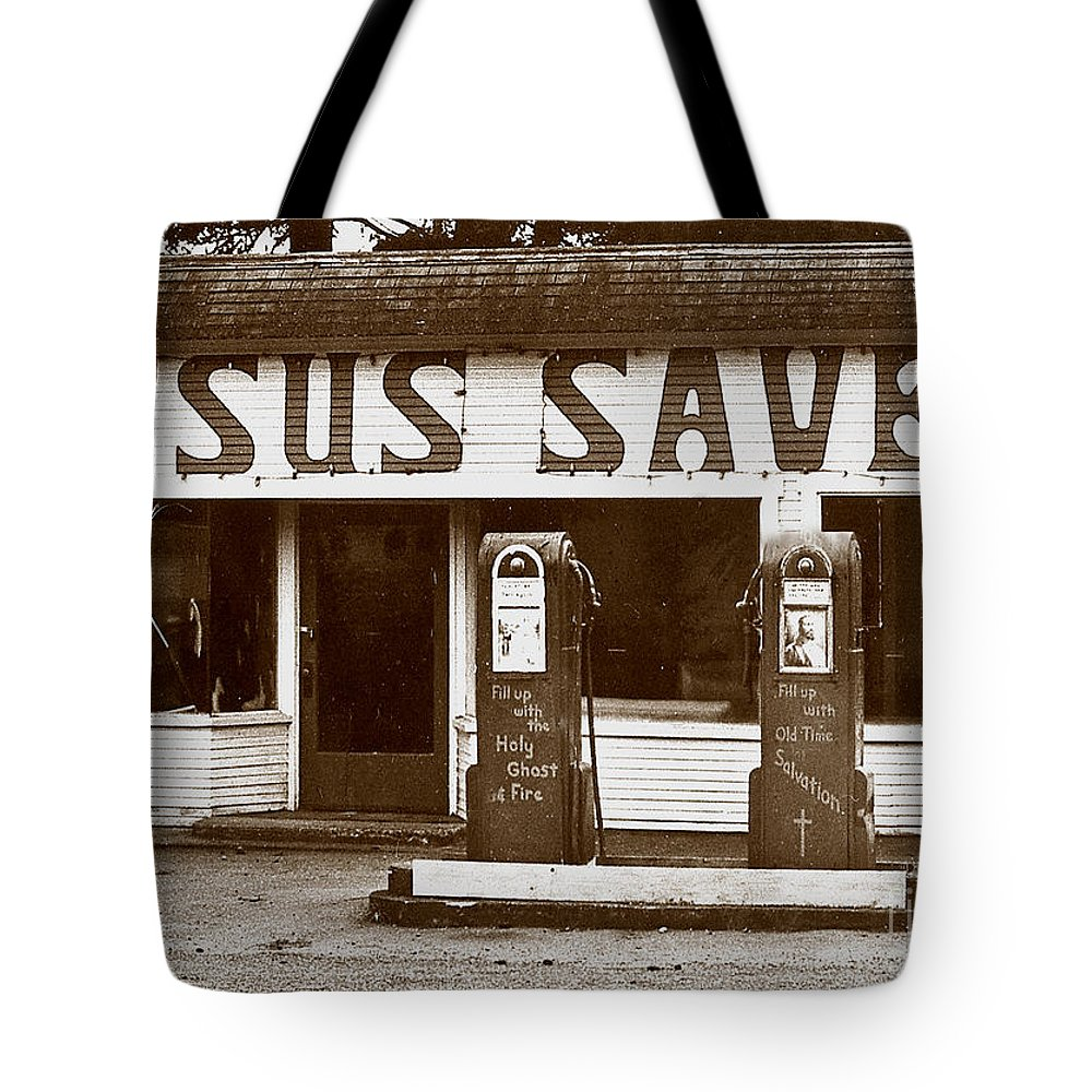 Jesus Tote Bag featuring the photograph Jesus Saves 1973 by Michael Ziegler