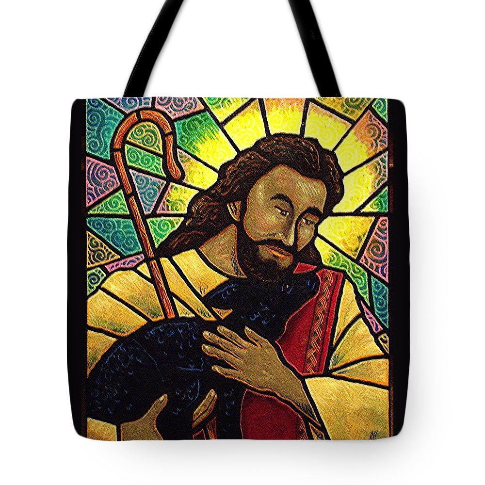 Jesus Tote Bag featuring the painting Jesus The Good Shepherd by Jim Harris
