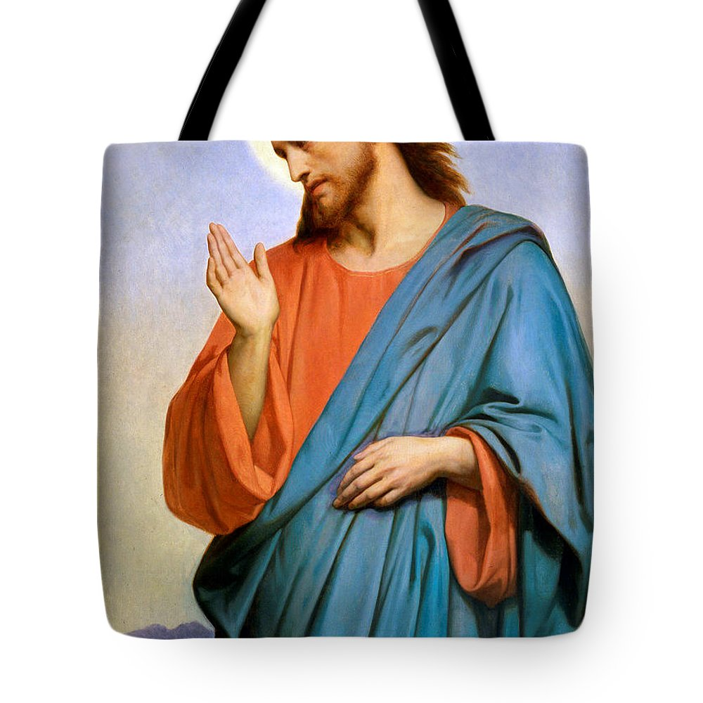 Jerusalem Tote Bag featuring the painting Jesus Weeping Over Jerusalem by Munir Alawi