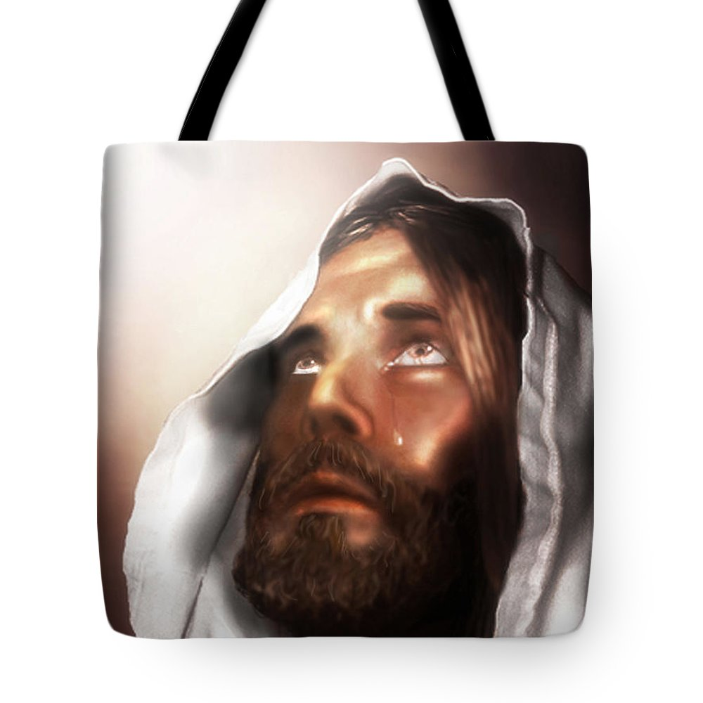 Jesus Tote Bag featuring the mixed media Jesus Wept by Mark Spears