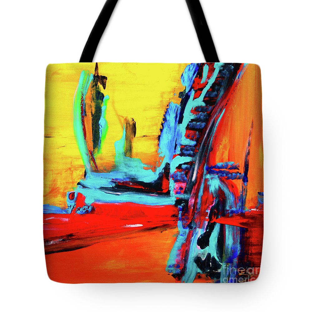 Original Tote Bag featuring the painting Jet Setting by ElsaDe Paintings