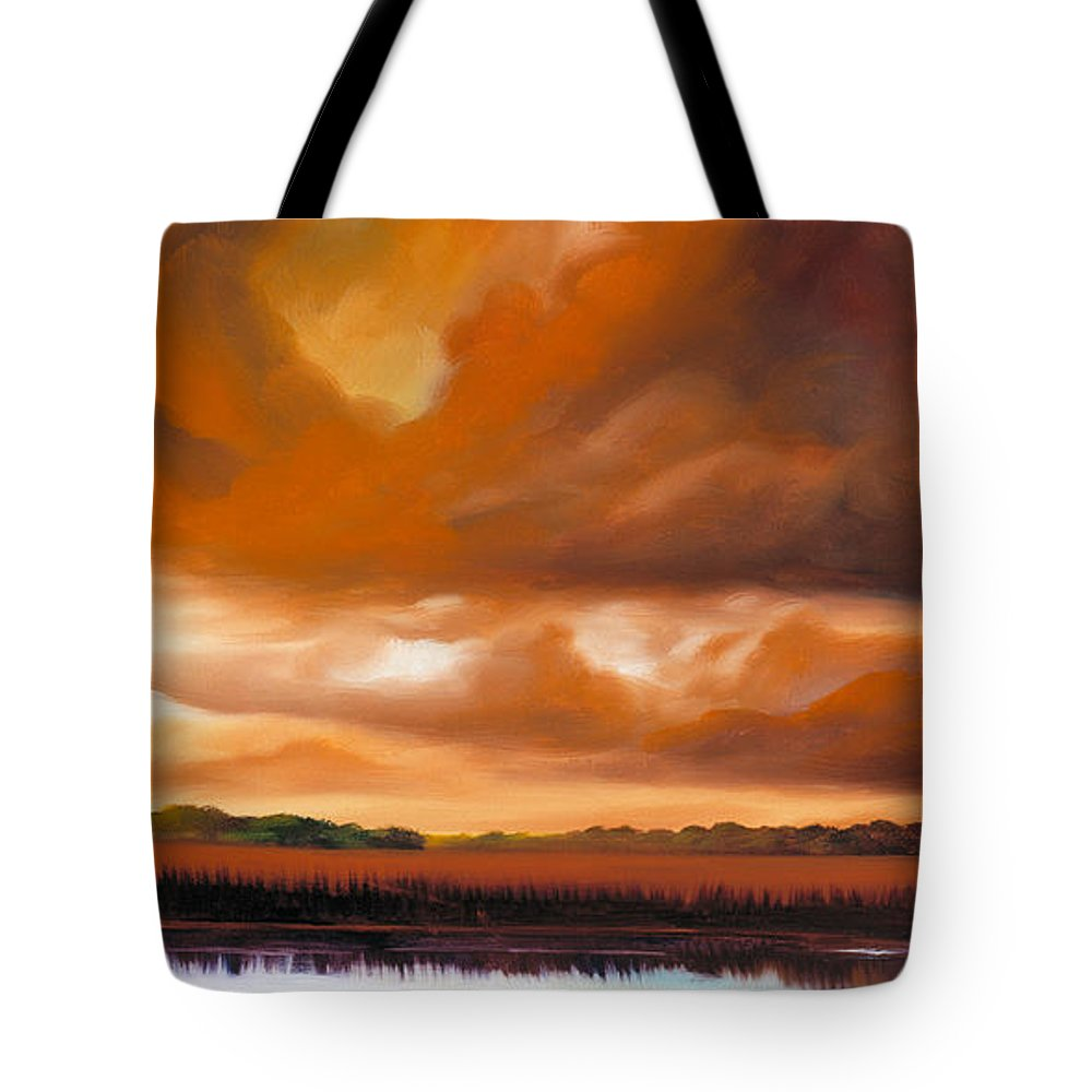 Clouds Tote Bag featuring the painting Jetties On The Shore by James Christopher Hill