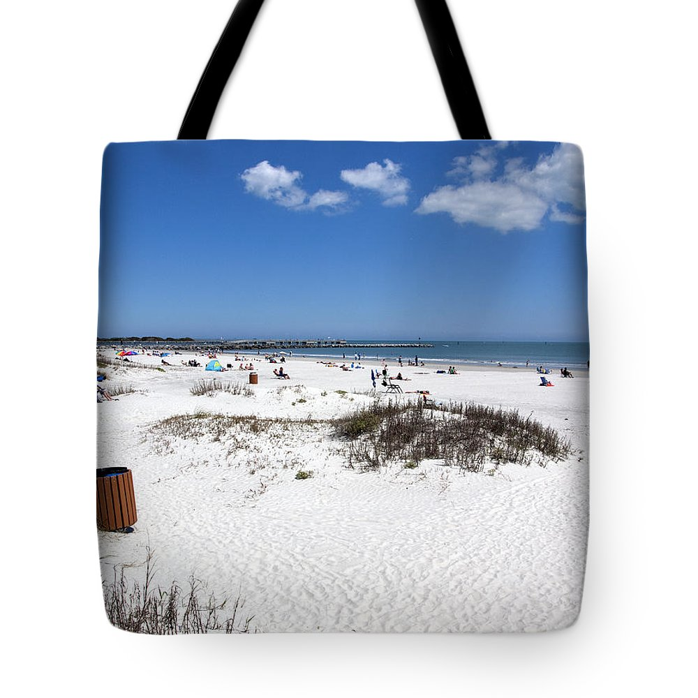 Florida Tote Bag featuring the photograph Jetty Park At Cape Canaveral In Florida Usa by Allan Hughes