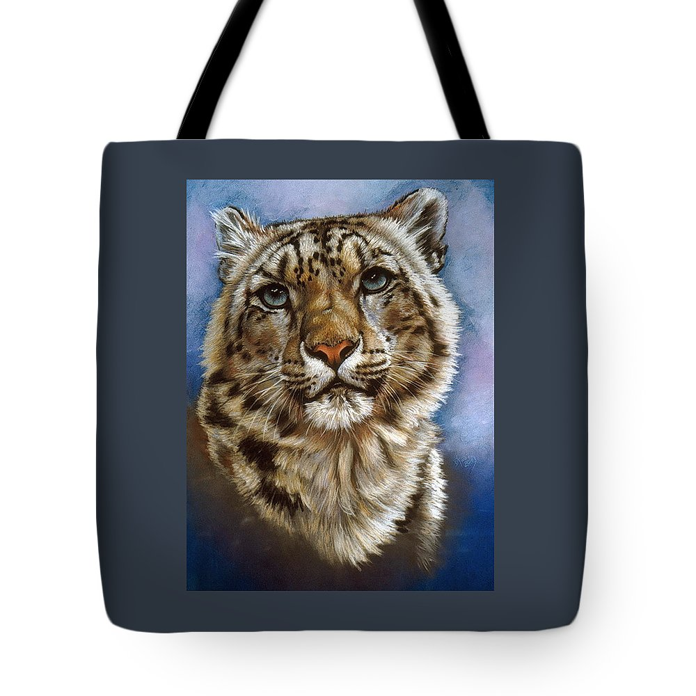 Snow Leopard Tote Bag featuring the pastel Jewel by Barbara Keith