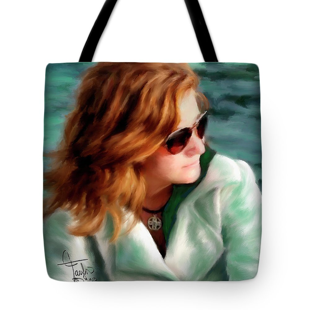 Red Head Tote Bag featuring the painting Jewel Of Contemplation by Colleen Taylor