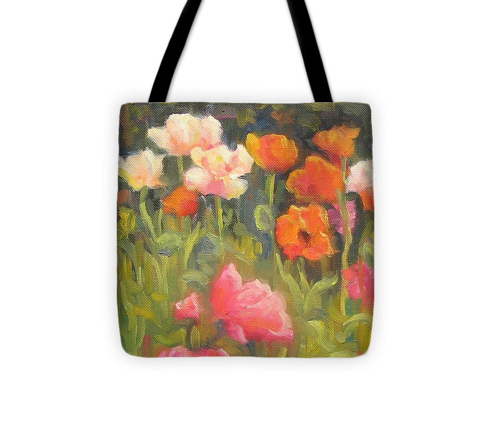 Floral Tote Bag featuring the painting Jewels Of Spring by Bunny Oliver