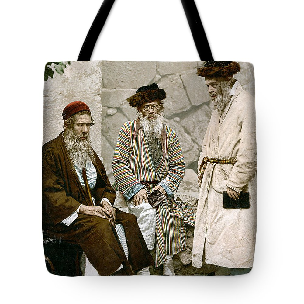 1900 Tote Bag featuring the photograph Jews In Jerusalem, C1900 by Granger