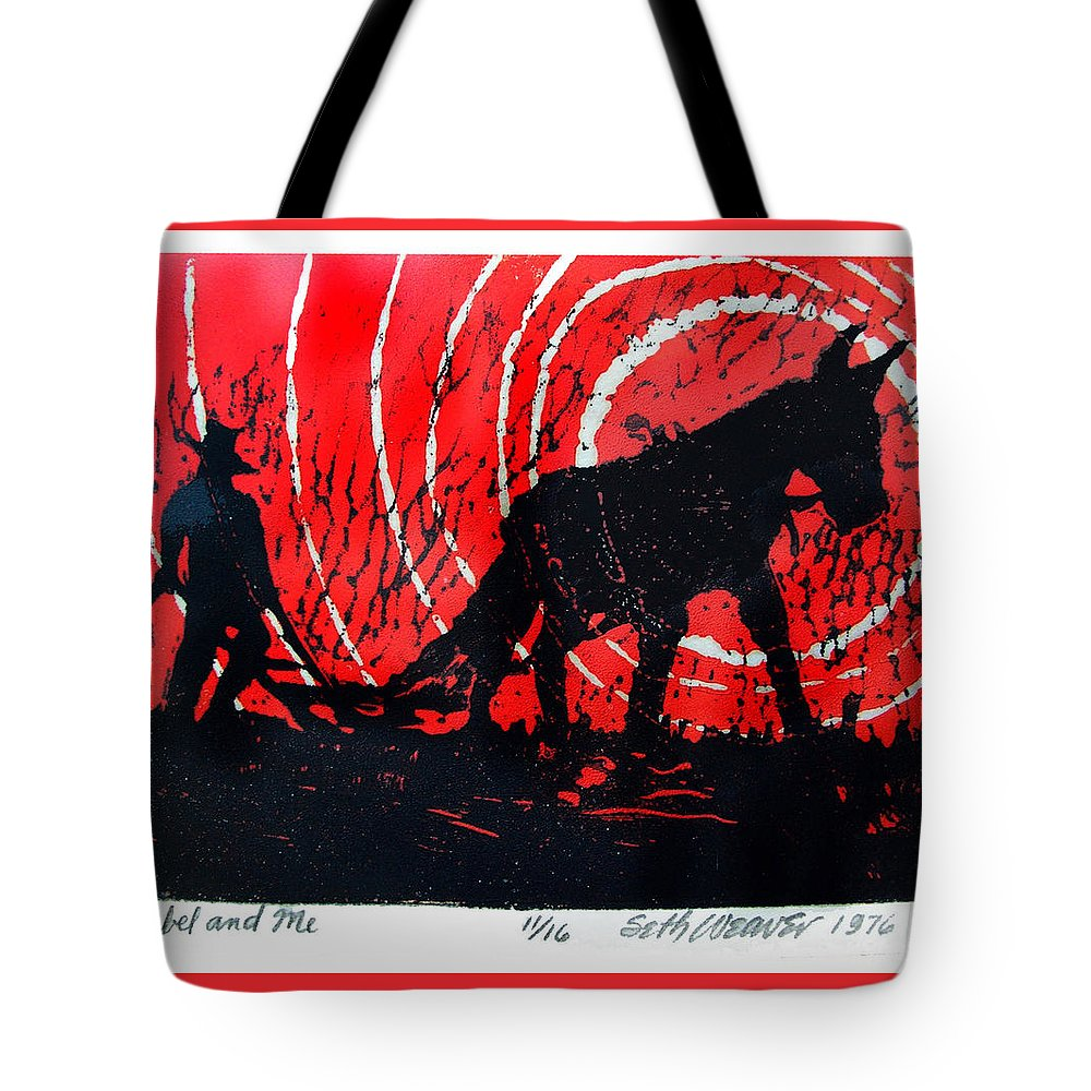 Jezebel And Me Tote Bag featuring the relief Jezebel And Me by Seth Weaver